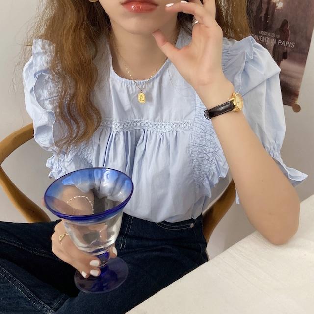 Frill Ruffle blouse(blue)