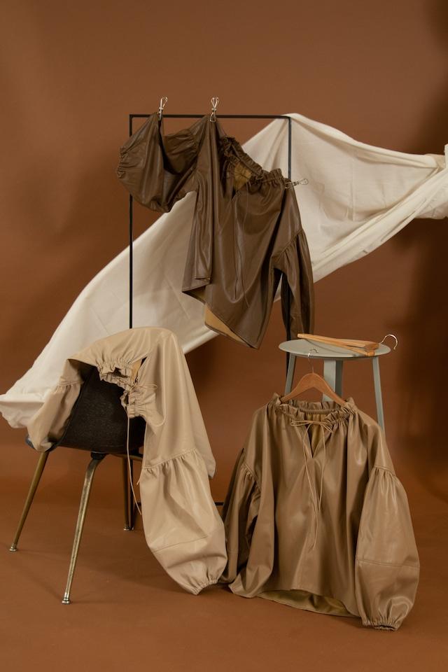 leather volume blouse
