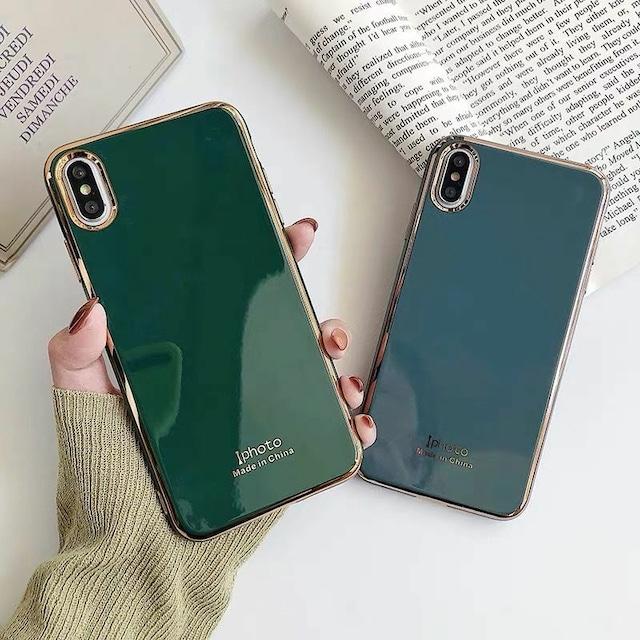 Bluegrey green metal side iphone case