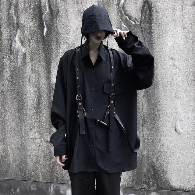 【トップス】メタル合わせやすいメタル暗黒系長袖シャツ52178655