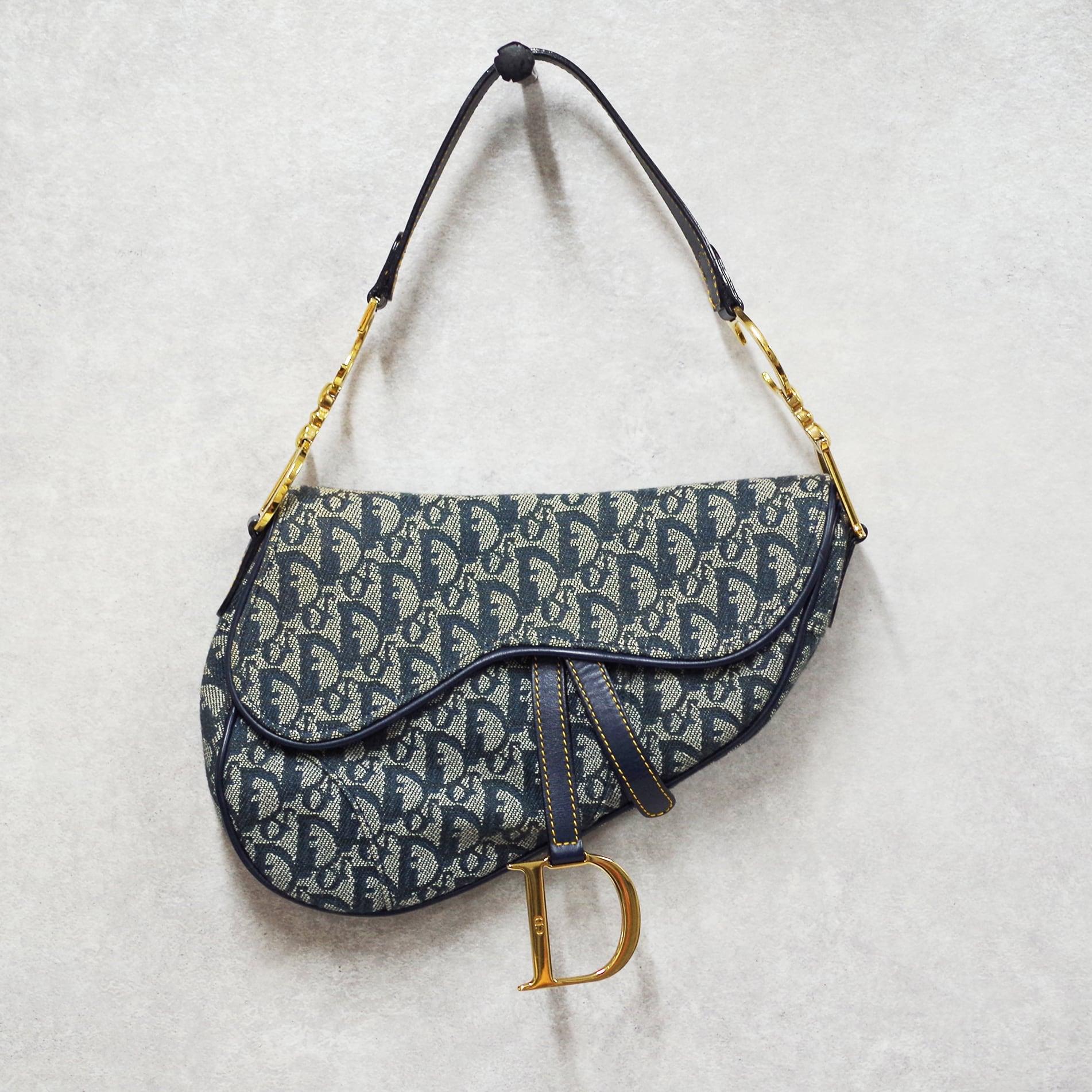 Christian Dior ディオール オブリーク トロッター サドルバッグ ブルー ジャガードキャンバス レザー
