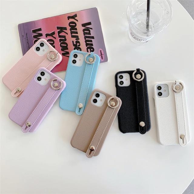 ストラップ付き Leather color iphone case