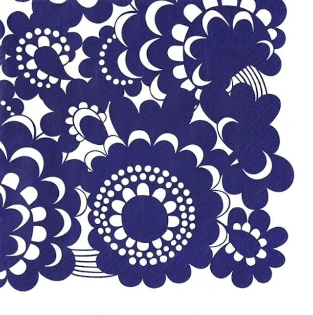 北欧【ARABIA】バラ売り1枚 ランチサイズ ペーパーナプキン ESTERI ブルー