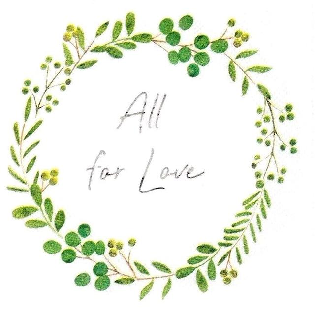 イギリス【Talking Tables】バラ売り1枚 カクテルサイズ ペーパーナプキン All for Love ホワイト×グリーン