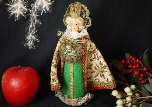 木製人形  クリストキント 聖人 王冠 ゴブラン マント