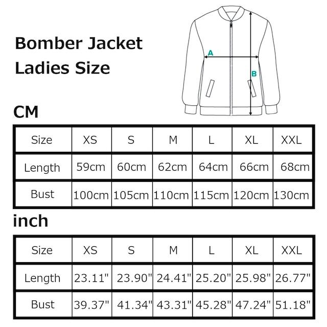 芍薬牡丹百合 ブラック メンズ&レディースボンバージャケット