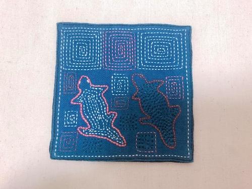 レンテン族 刺繍コースター やもり