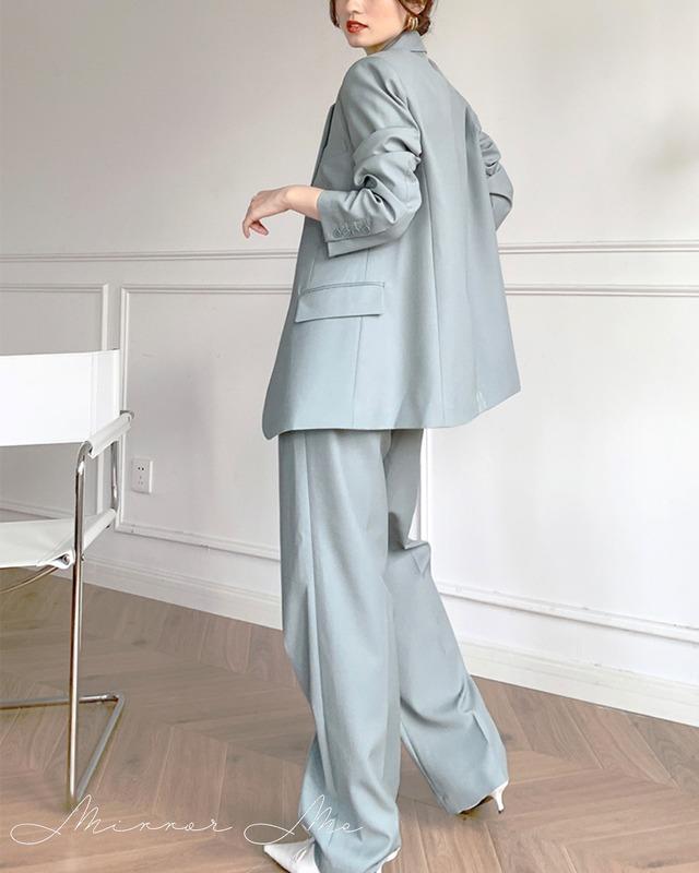 デザインジャケット&美ラインワイドパンツセットアップ