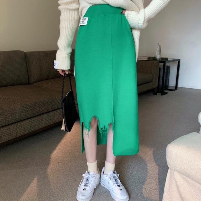 【ボトムス】組み合わせ自由 シンプル  定番 すね丈 ストレートスカート ハイウエスト ダメージ加工 スカート53524592