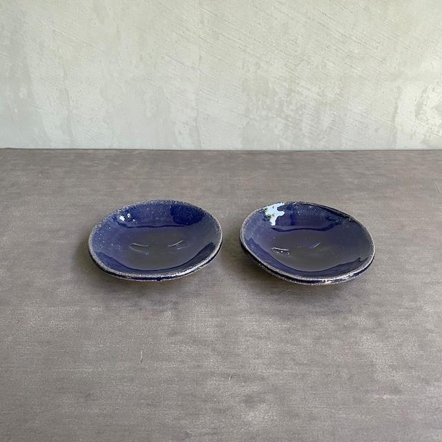 山上憲一   瑠璃釉  魚紋 小皿