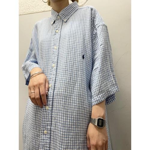 90's Ralph Lauren リネン ギンガムチェックシャツ
