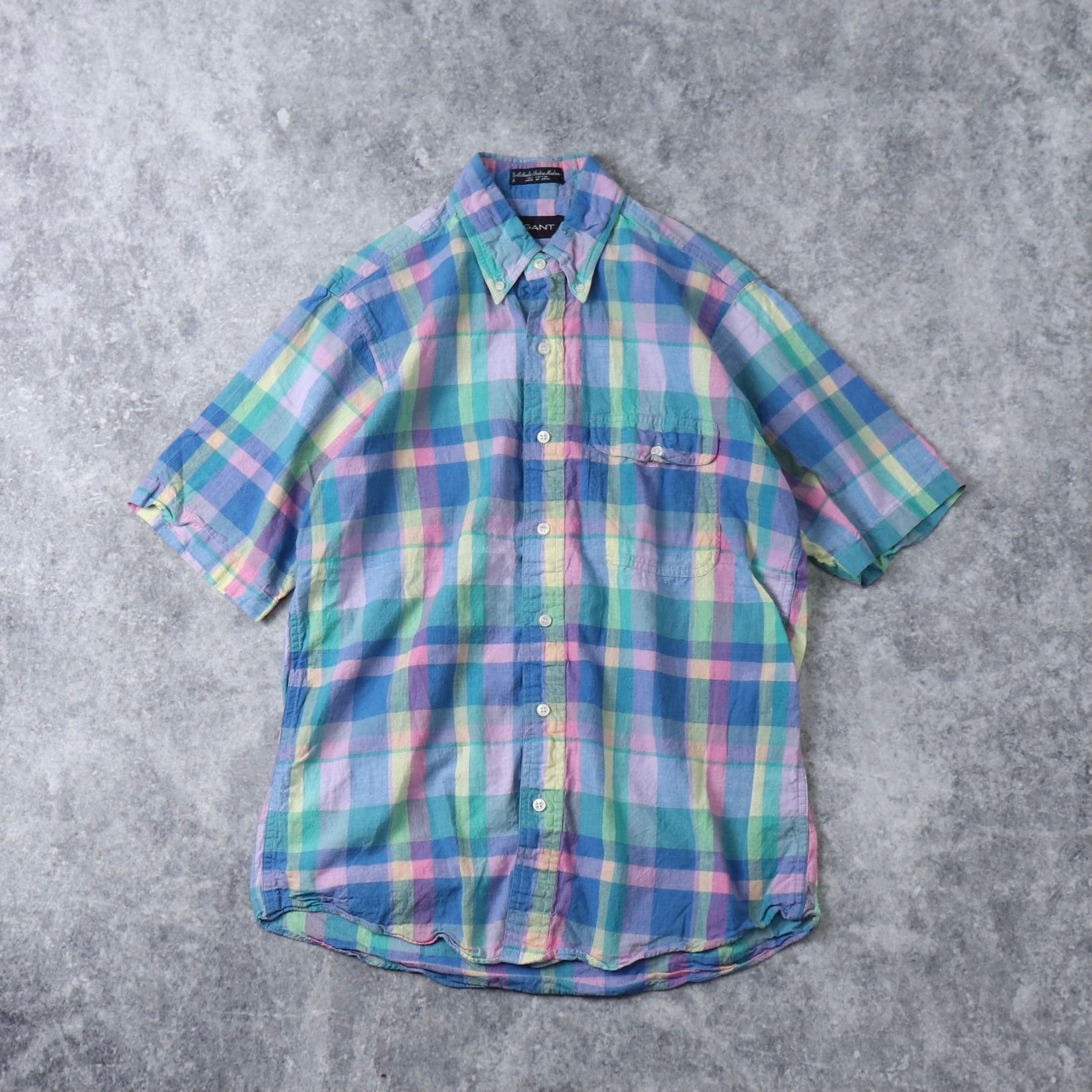 90's GANT 半袖BDシャツ インド綿 90年代 ボタンダウン アイビー Vintage ヴィンテージ  古着 A506