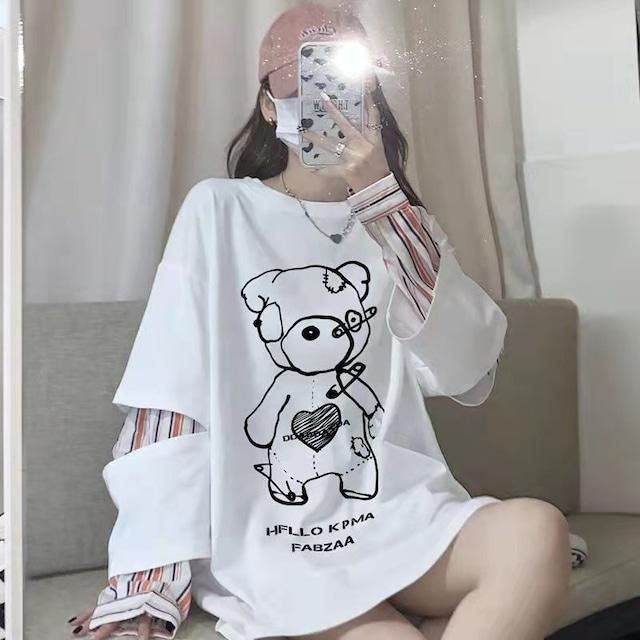 【トップス】フェイクレイヤードプリント設計感あり長袖Tシャツ52684063