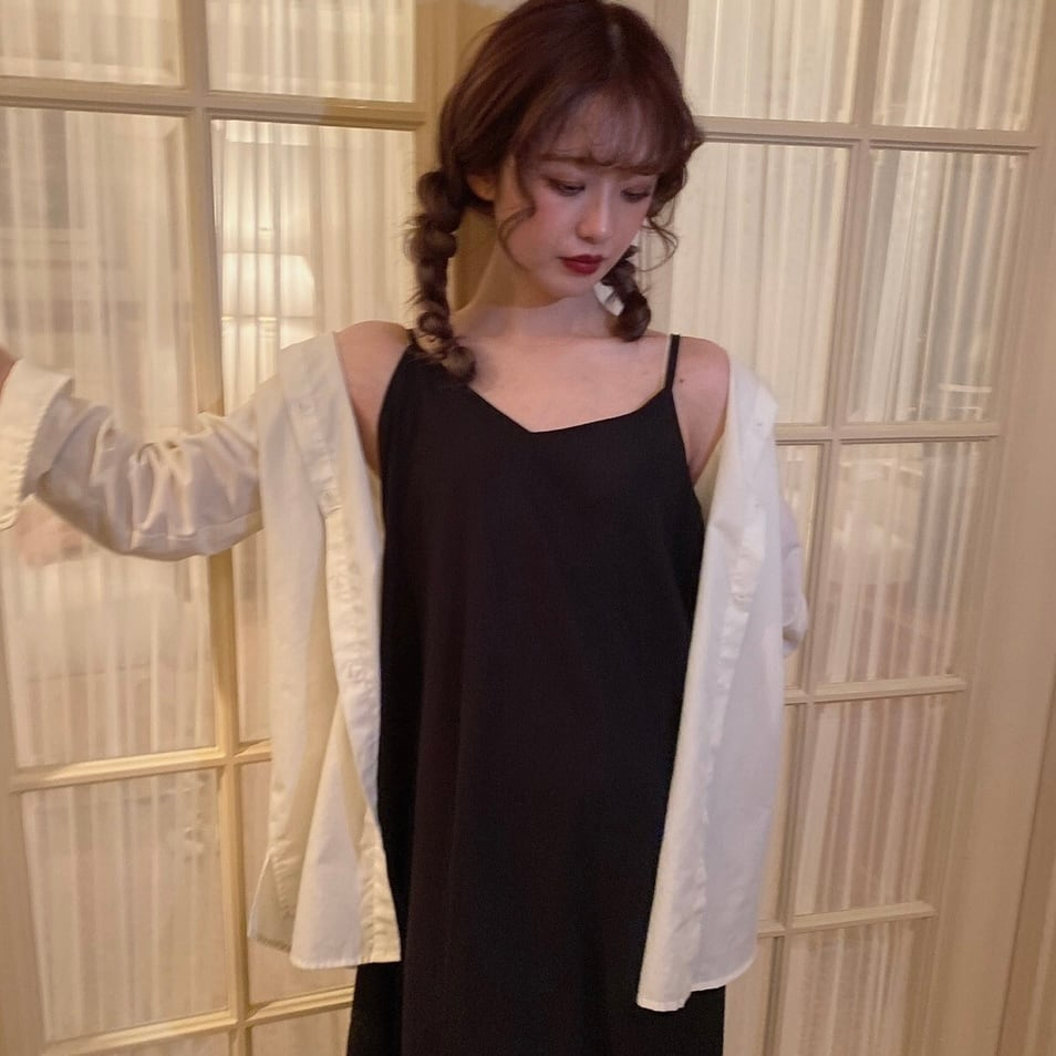 【SSC atelier】linen cami one-piece (black)