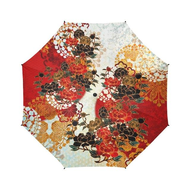 牡丹家紋紅白 折りたたみ傘