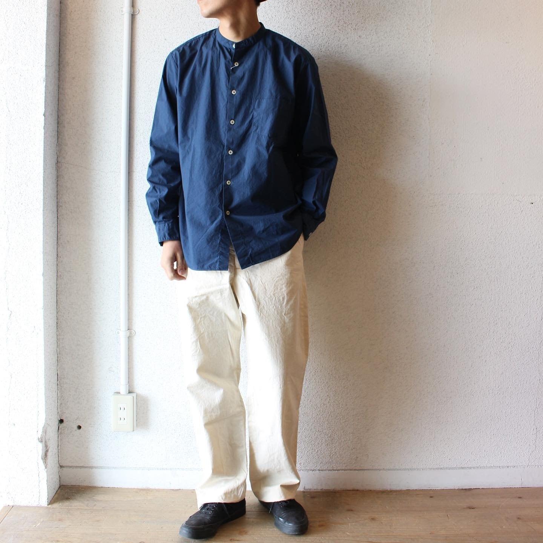 Manual Alphabet(マニュアル アルファベット)/  Loose Fit Bandcollar Shirts(ルーズフィット バンドカラーシャツ)ダークブルー
