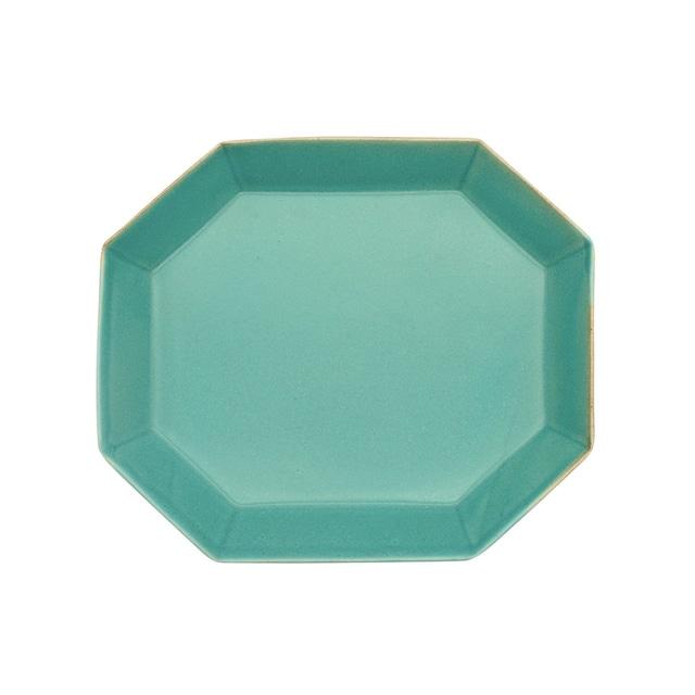 笠間焼 向山窯 ベリル プレート 皿 M 約19×17cm トルコブルー 255770