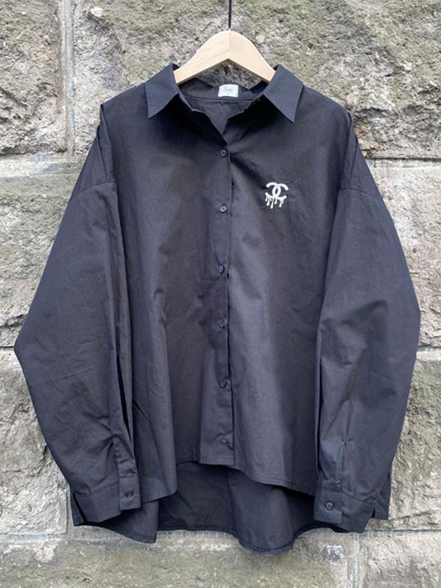 ドロップCロゴオーバーシャツ[Color:ブラック]