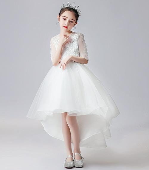 【キッズ】ホワイト フィッシュテール  メッシュ パーティードレス TM0146