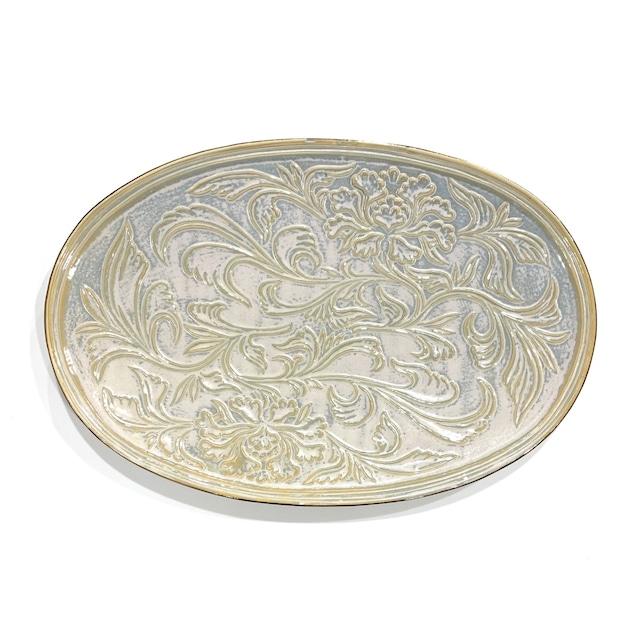 ハクア  花唐草彫楕円皿 30cm