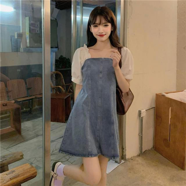 【ワンピース】韓国系半袖スクエアネックAラインパフスリーブワンピース46991045