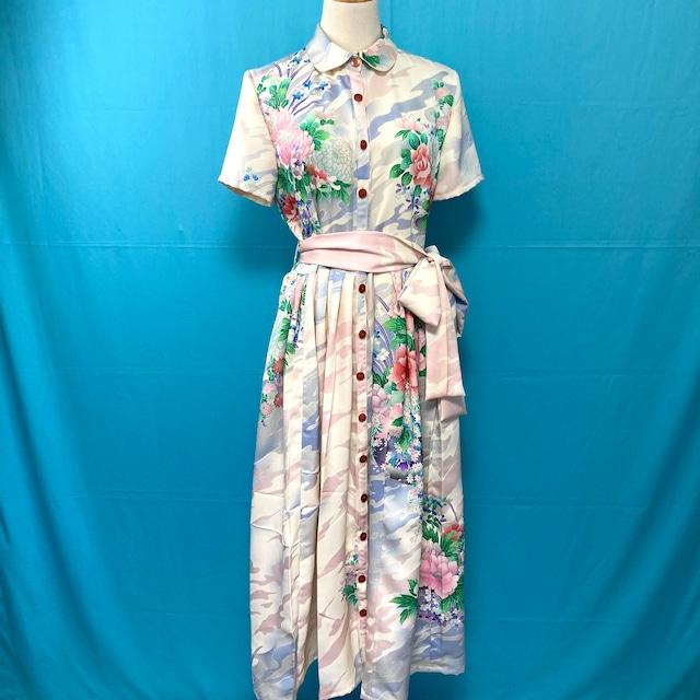 Vintage kimono shirt dress/ US 8