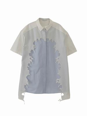 Layered shirt  / white × baby blue / S15SH01