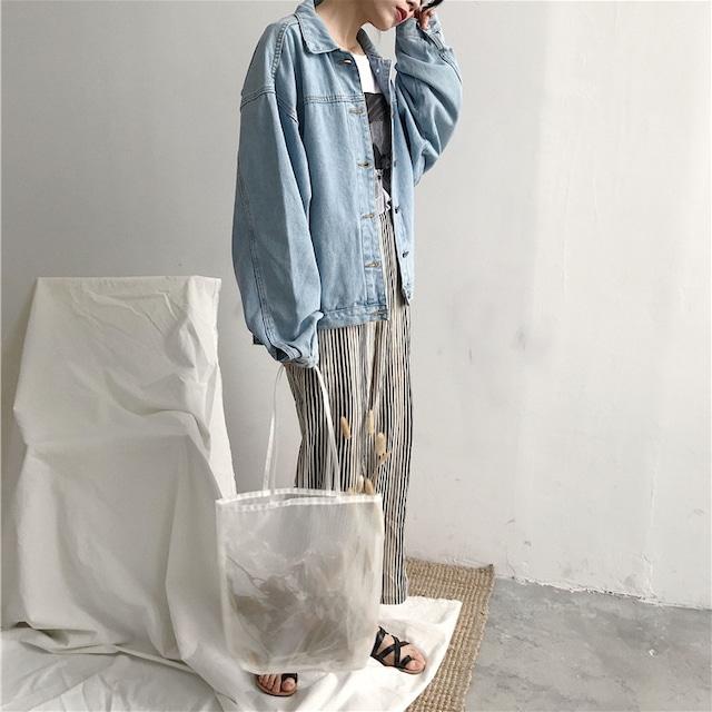 デニムジャケット(ブルー・グレー)|ゆるめ ドロップショルダー 羽織り