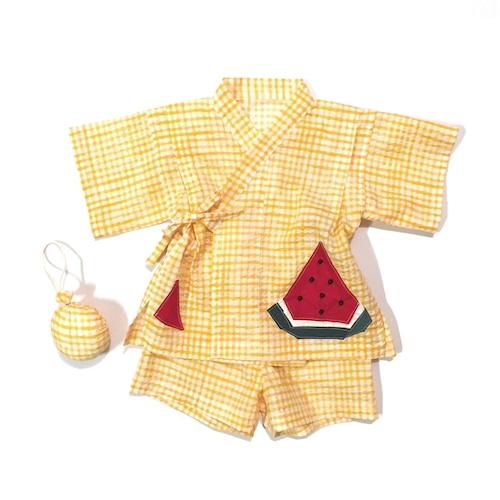 赤ちゃんじんべい 黄チェック × スイカ