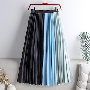 光沢のある多彩カラーが目を惹く♡プリーツロングスカート