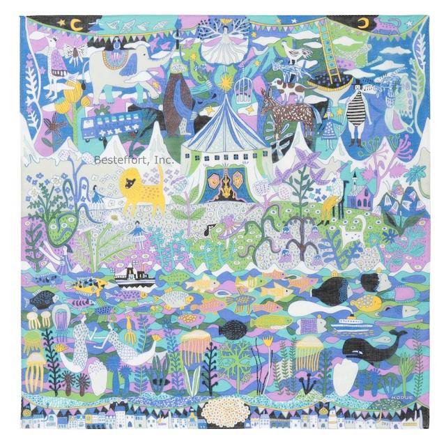 ひびのこづえ ハンカチ サーカス / ブルー 大判 10色刷り 58x58cm KH21-03