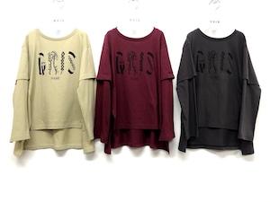 "GRIS 20AW Layered Print T-Shirts ""NAME"" M/Lサイズ ( beige/charcoal) [GR20AW-CU008A]メール便可"