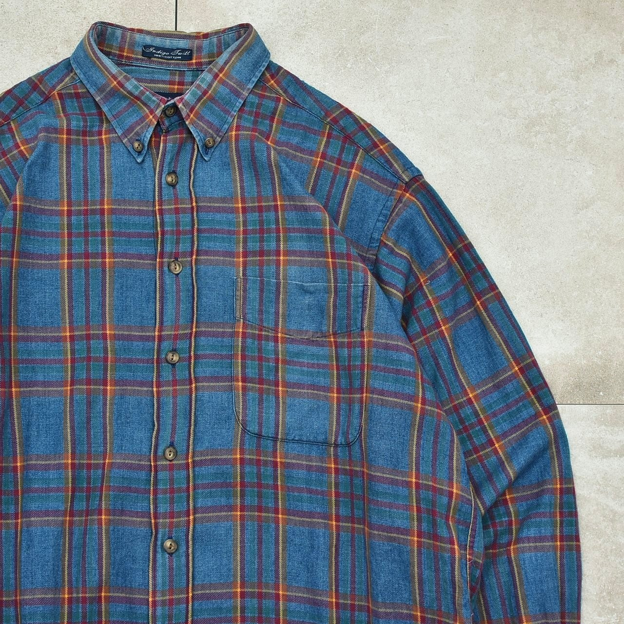 90's〜 GANT dungaree denim check BD shirt