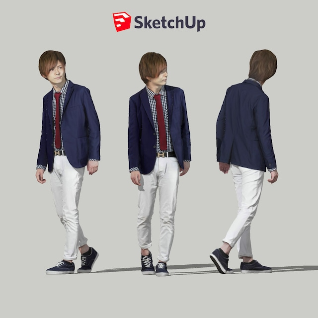 SketchUp素材 3D人物モデル ( Posed ) 083_Ren - メイン画像