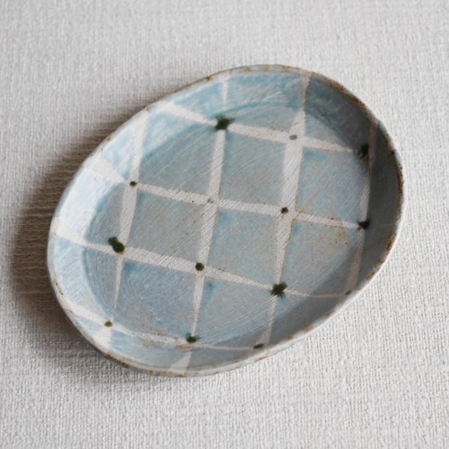 網目文楕円皿 Blue