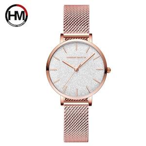 HMステンレススチールメッシュ腕時計トップブランドラグジュアリージャパンクォーツムーブメントローズゴールドデザイナーエレガントなスタイルの時計女性用1323WF1