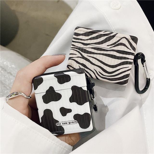 airpods カバー 韓国 airpodspro エアーポッズ ケース menew 柄 ゼブラ 牛 cow