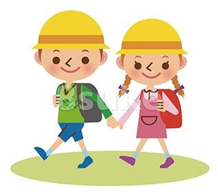 イラスト素材:手をつないで登校する幼い男の子と女の子(ベクター・JPG)