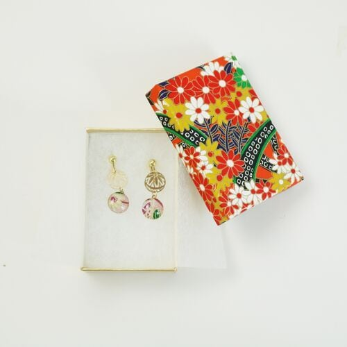 【CCR匠 工房】イヤリング 寧-Nei-和紙 ピンク牡丹【日本製】