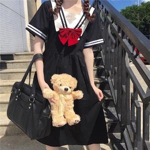 ロリータ服 ゴスロリ ゴシック ロリータ衣装 JK制服 セーラー服 可愛い ワンピース 半袖ワンピース フリル lolita 9923