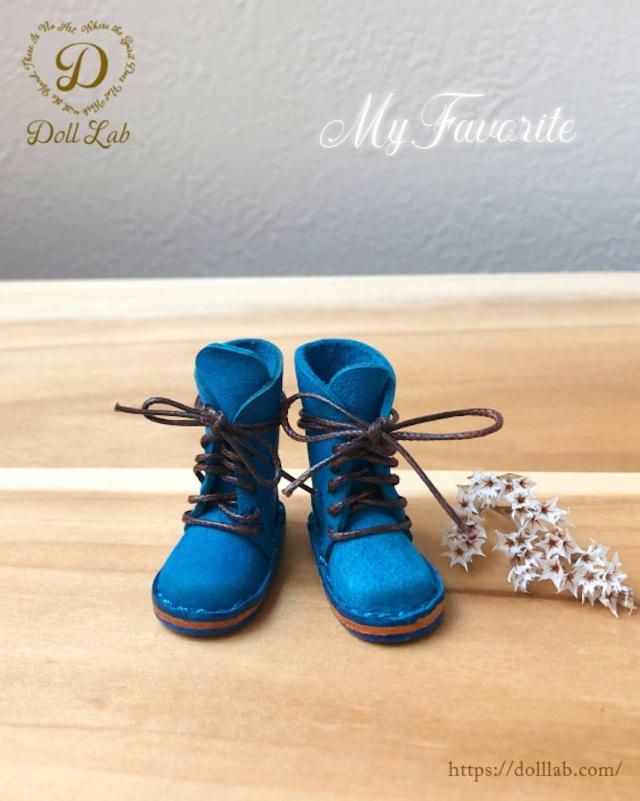 ショートブーツ ブルー [ブライス] ドール 靴 本革