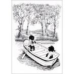 ポストカード ボート(モノクロ)(FO_PO_10118)