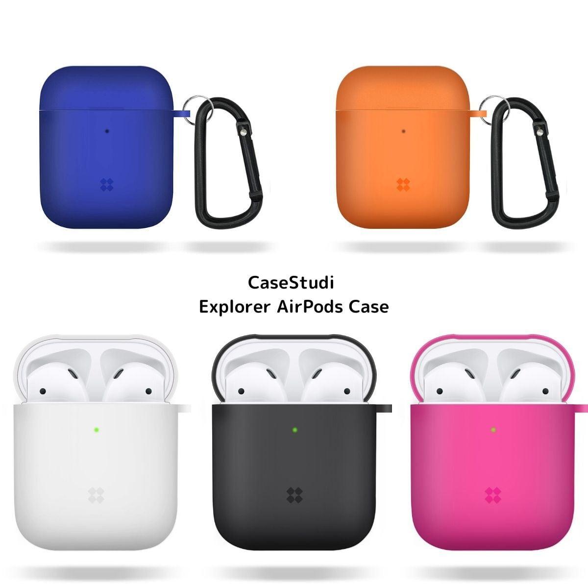 Apple AirPods ハード ケース 半透明 シンプル CaseStudi ケーススタディ Explorer Case エアーポッズ カバー カラビナ付属 ワイヤレスイヤホン