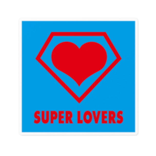 SUPER LOVERS logo/ステッカー白ベース10cm枠内