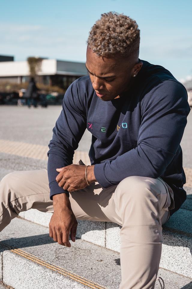 XENO EMBROIDERY LS T-shirt Navy