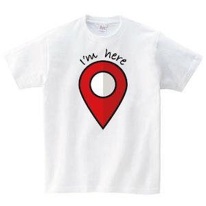 I'm here Tシャツ メンズ レディース 半袖 地図 シンプル ゆったり おしゃれ トップス 白 30代 40代 プレゼント 大きいサイズ 綿100% 160 S M L XL
