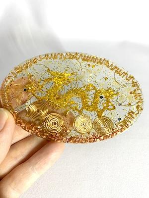 波動が高い!楕円型 ドラゴンのオルゴナイト~金運アップ【ゴールドルチル・シトリン・水晶】