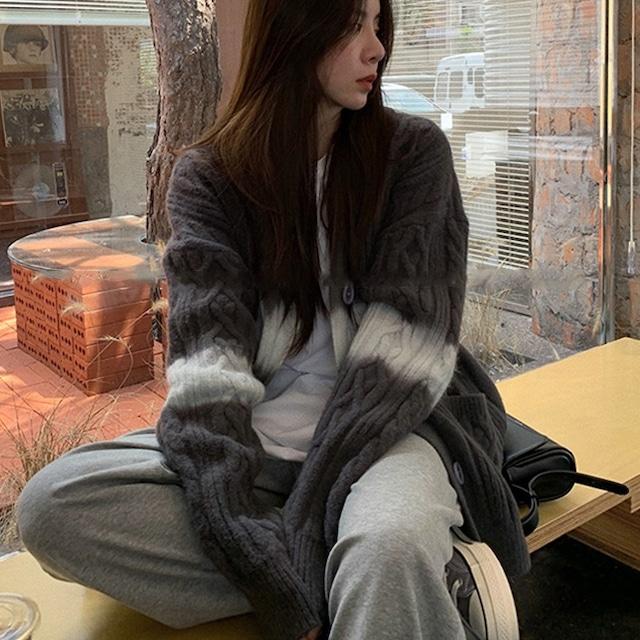 【アウター】人気上昇中 秋冬 ロング カジュアル ファッション 配色 シングルブレスト カーディガン-3-54001826