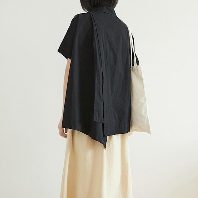バックアシンメトリーデザイン半袖シャツ 3colors