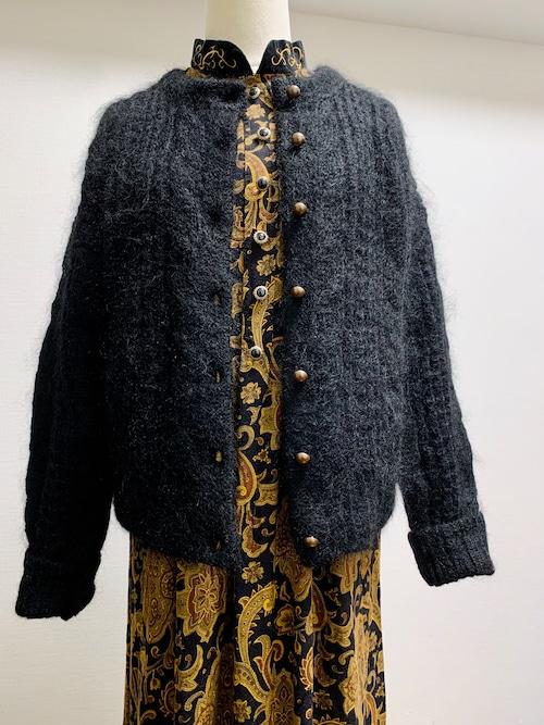 Vintage Black Mohair Cardigan